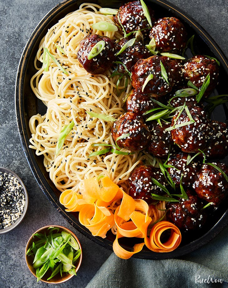 Sticky Asian Meatballs With Udon Noodles Purewow