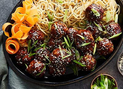 sticky asian meatballs with udon noodles recipe p2901