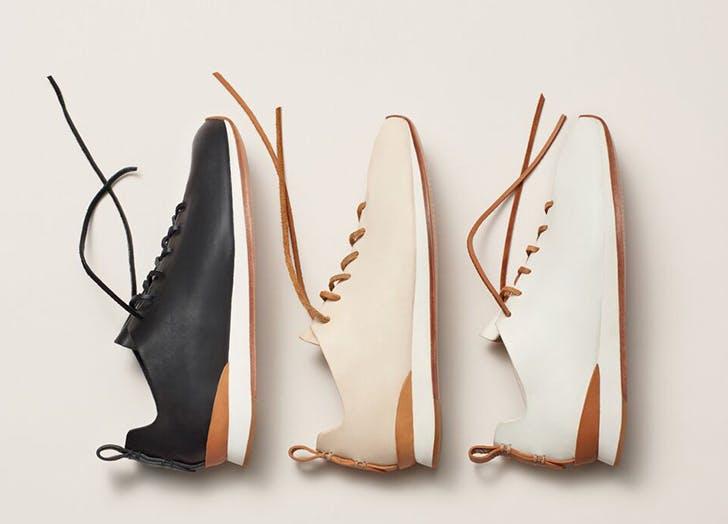three sneakers black beige