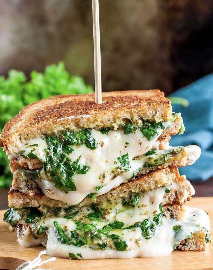 vegan spinach pesto cheese sandwich recipe