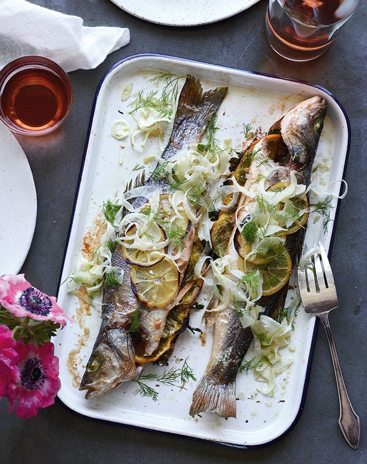 Whole Roasted Branzino with Shaved Fennel Slaw