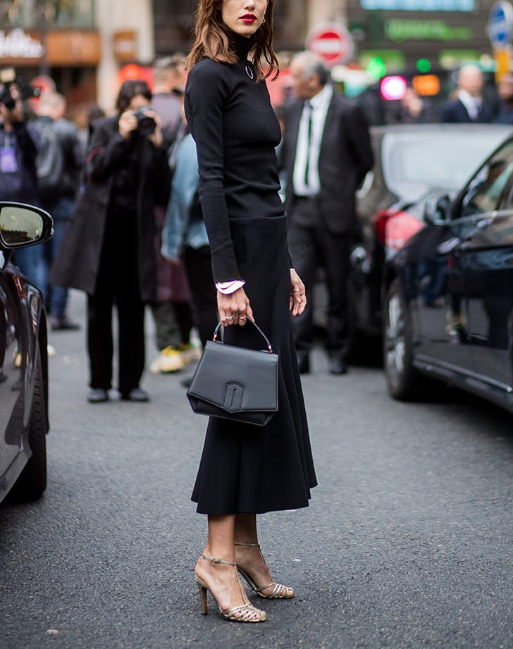 woman wearing an all black outfit