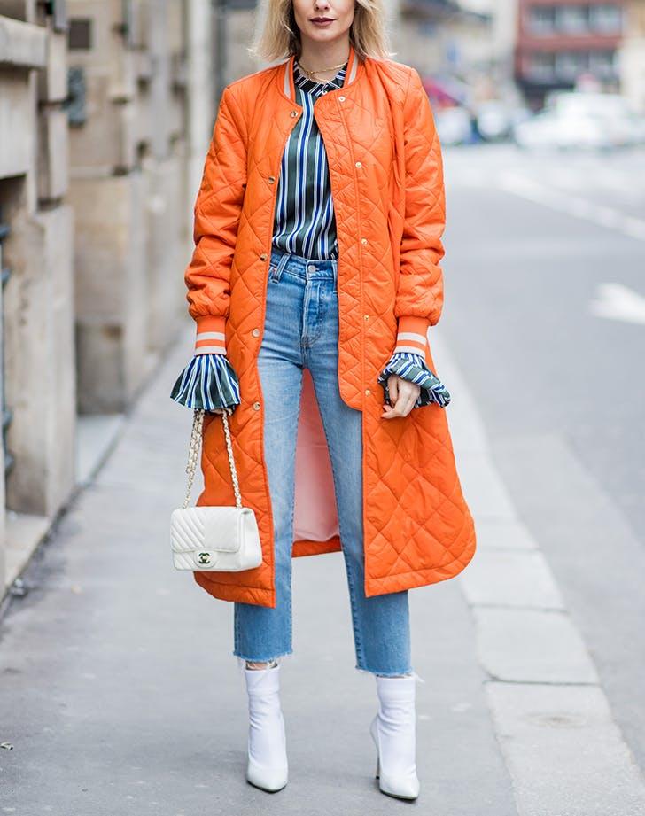 woman wearing blue and orange