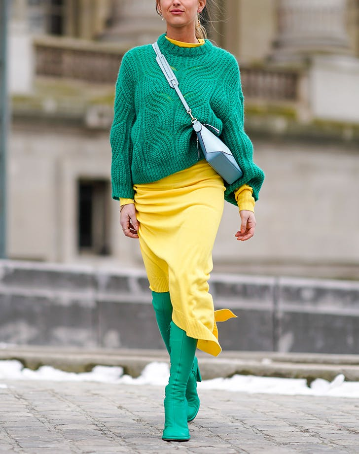 woman wearing green and yellow