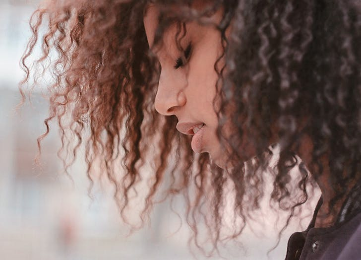 woman with natural curly hair