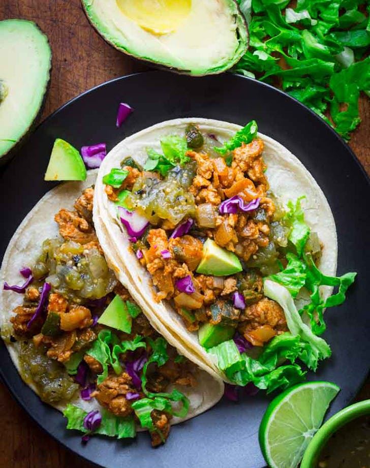 20 minute ground chicken tacos with poblanos recipe