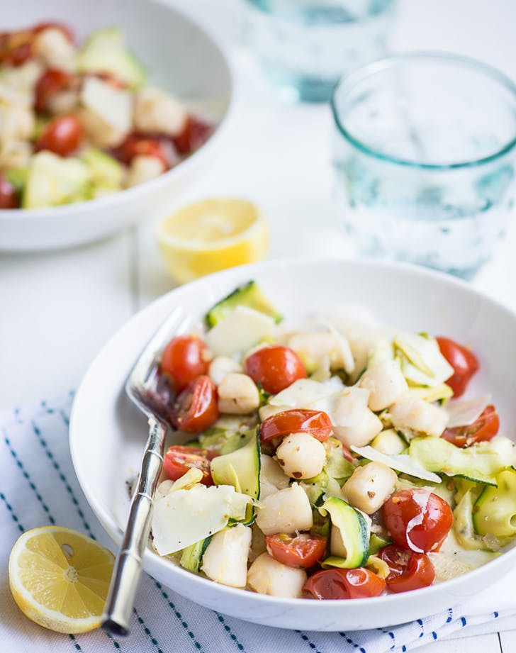 20 minute warm bay scallop salad with zucchini and asparagus recipe