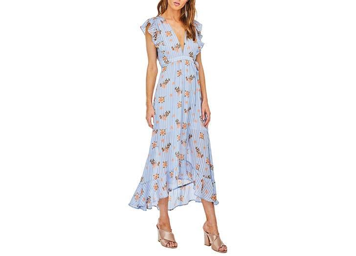 Astr blue floral midi dress