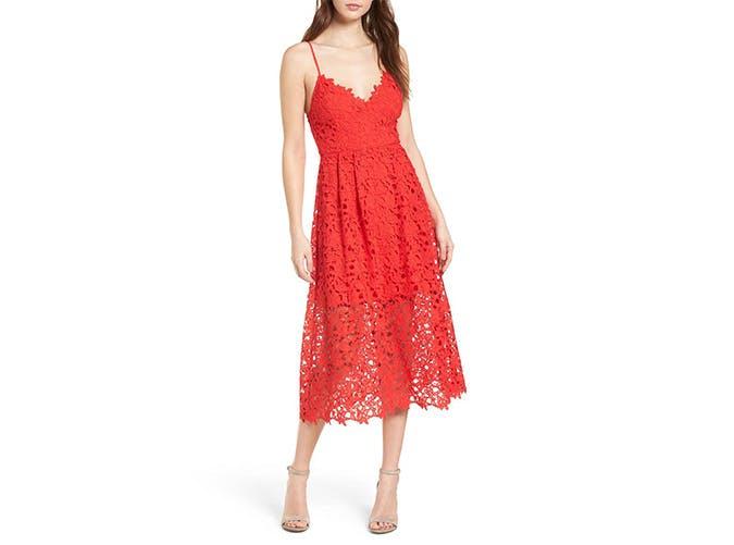 Astr red lace midi dress