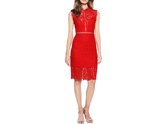 Bardot red lace dress fixed