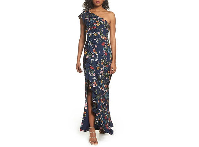 CMEO ruffled one shoulder maxi