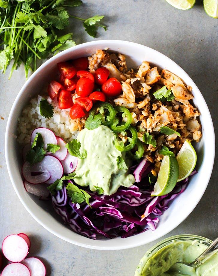 Chipotle Fish Taco Bowls with Avocado Cilantro Sauce whole30 recipe