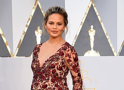 Chrissy Teigen red carpet beauty products cat