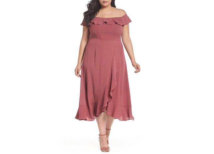 City Chic pink ruffle dress