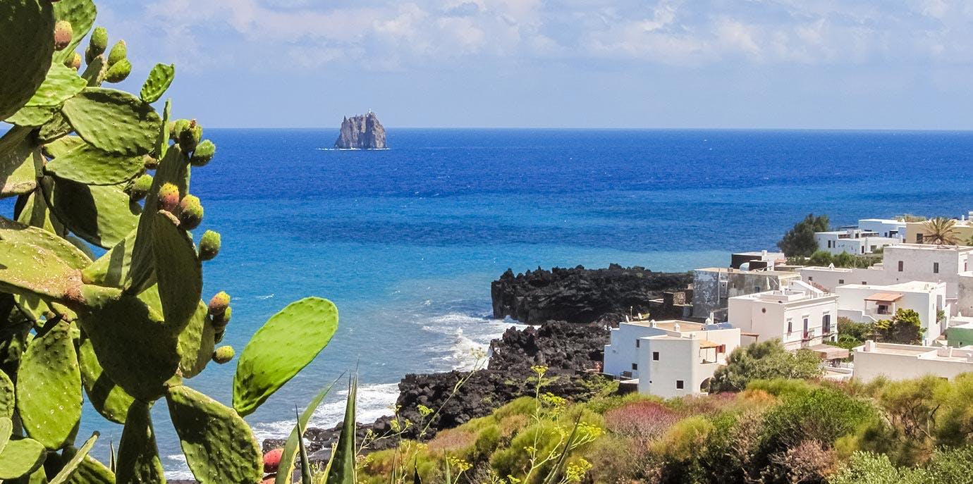 Coastline of Stromboli island in Italy