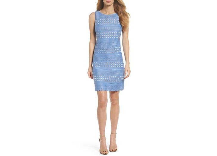 Eliza J Laser Cut blue dress