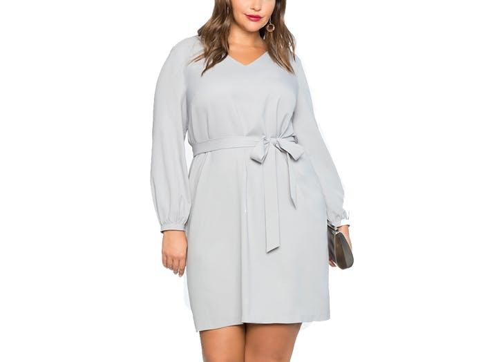 Eloquii grey waist tie dress