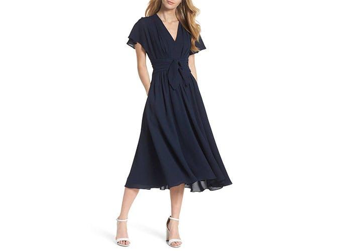 Gal Meets Glam navy chiffon dress