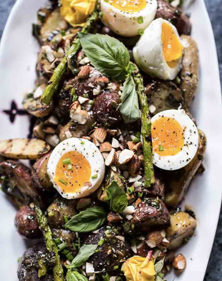 Grilled Potato Salad egg Almond Basil Chimichurri