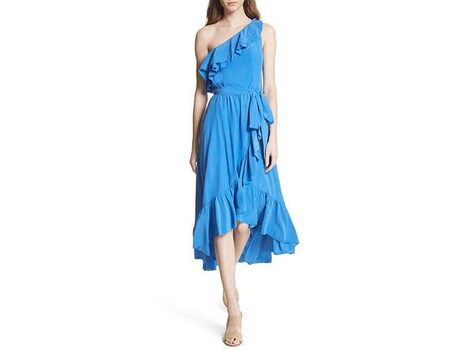 Joie blue ruffled one shoulder dress