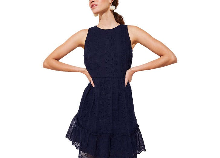 Loft navy eyelet dress