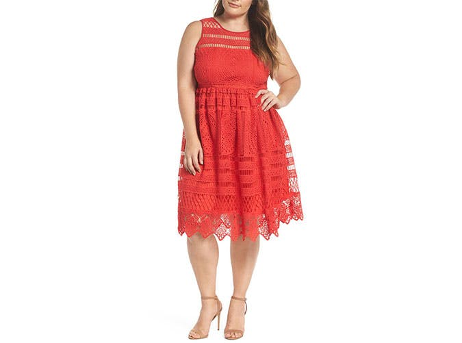 Lost Ink red lace eyelet dress