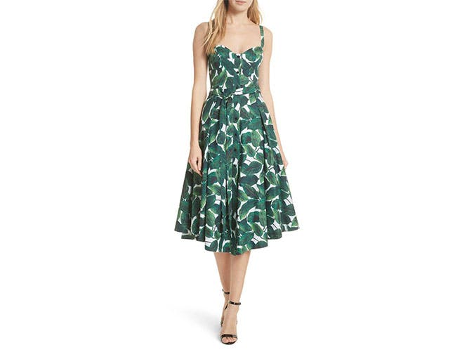 Milly palm print midi dress