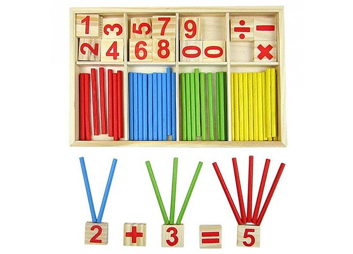 Montessori Wooden Number Cards and Counting Rods Toy