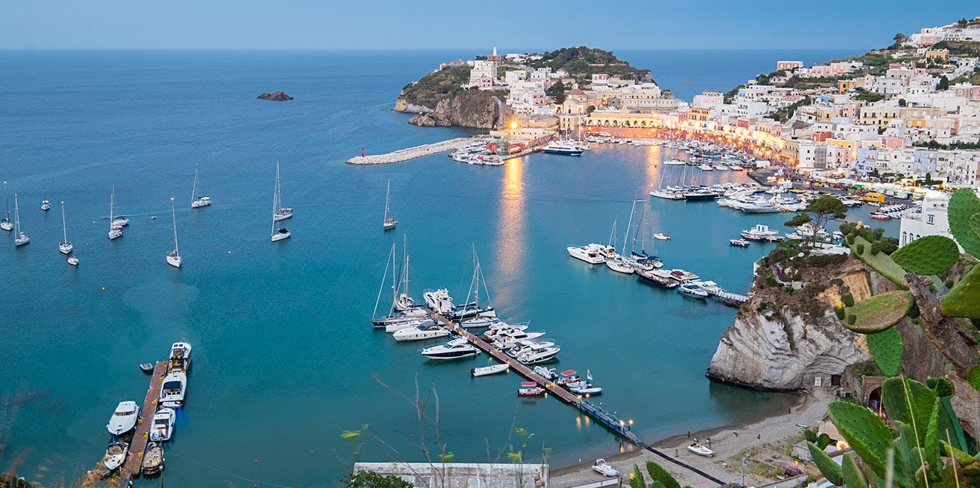 Ponza island town scenic view in Italy