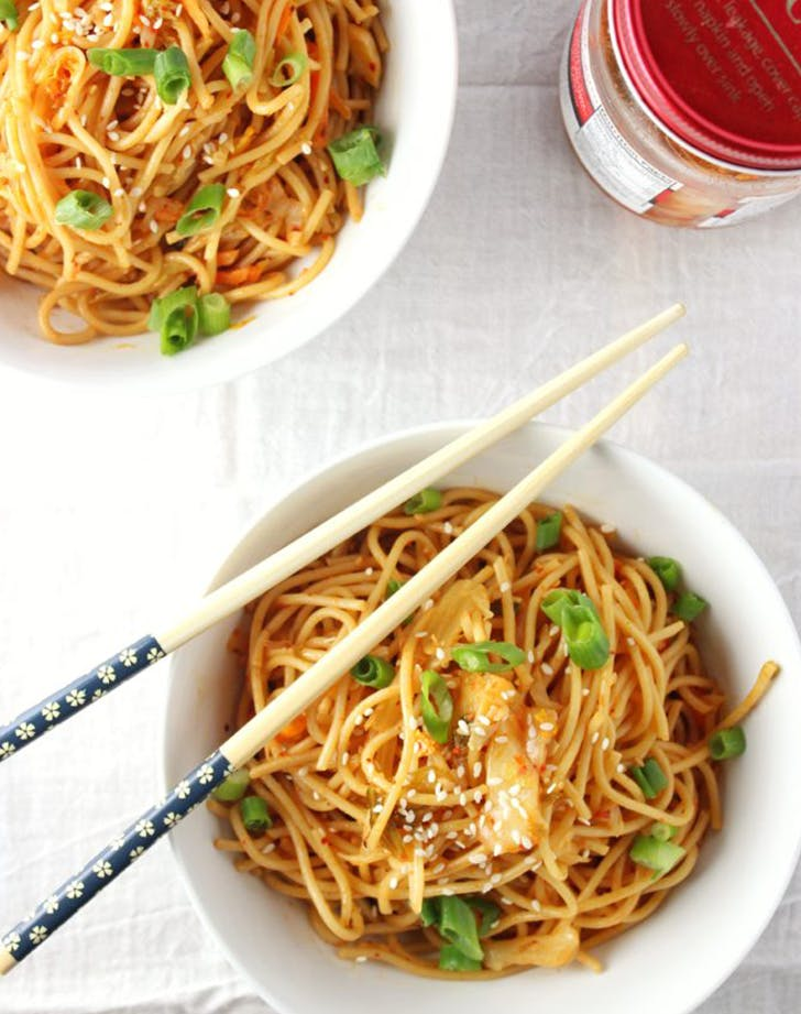 Spicy Kimchi Sesame Noodles recipe