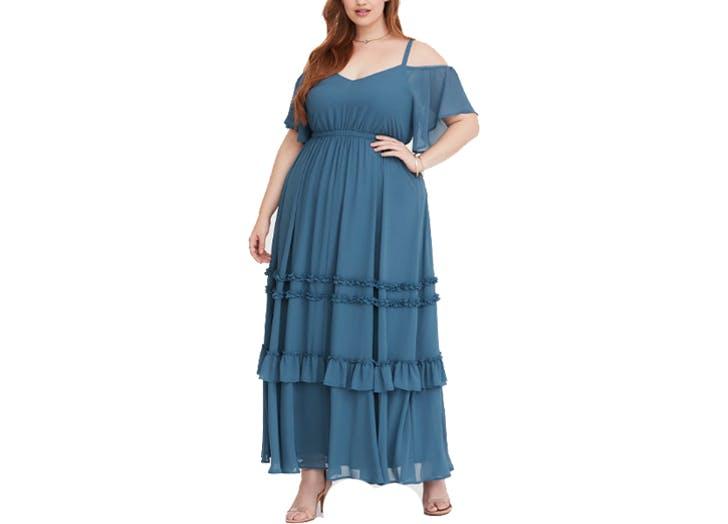 Torrid maxi blue tiered ruffle dress