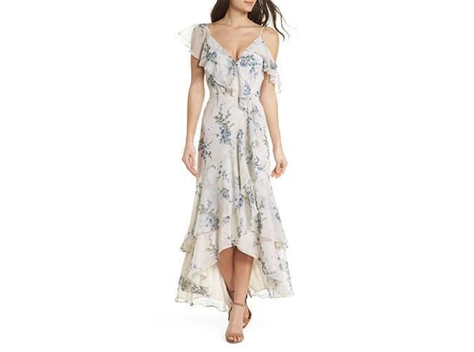 Wayf ruffled wrap dress