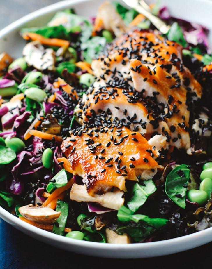 asian sesame salad with sriracha salmon recipe