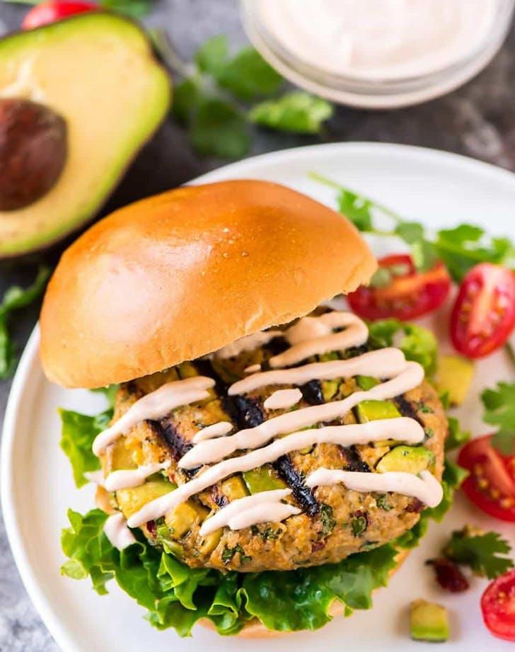 avocado burgers with chipotle yogurt sauce recipe