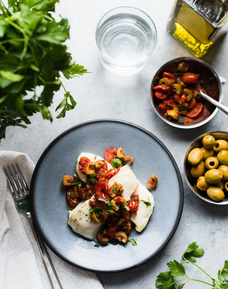 baked halibut with olives tomatoes recipe1