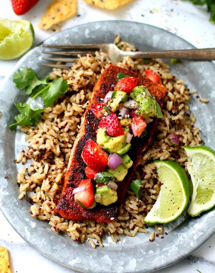 blackened salmon avocado strawberry salsa recipe
