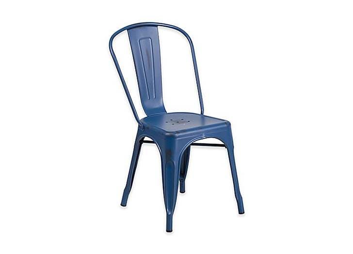 blue gunmetal chair