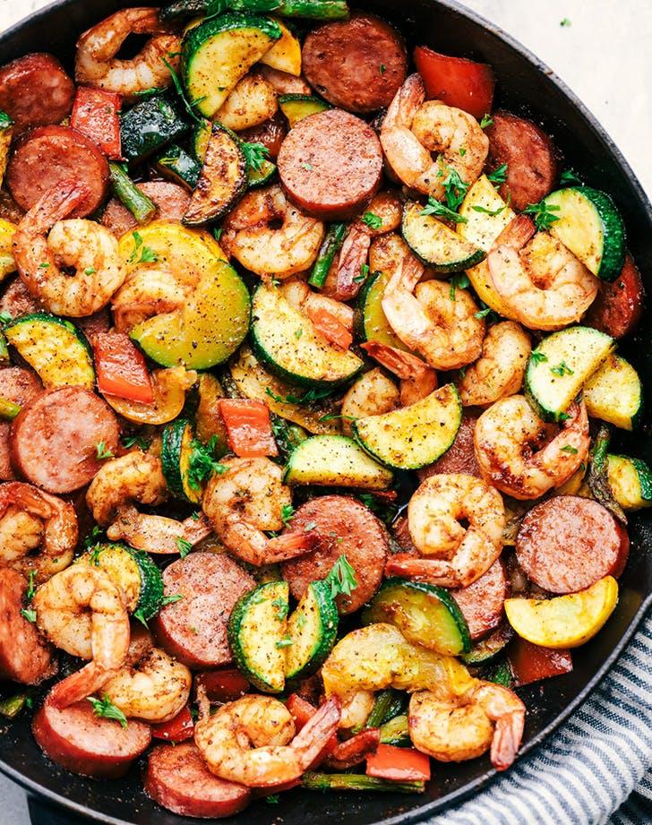 cajun shrimp sausage vegetable skillet recipe