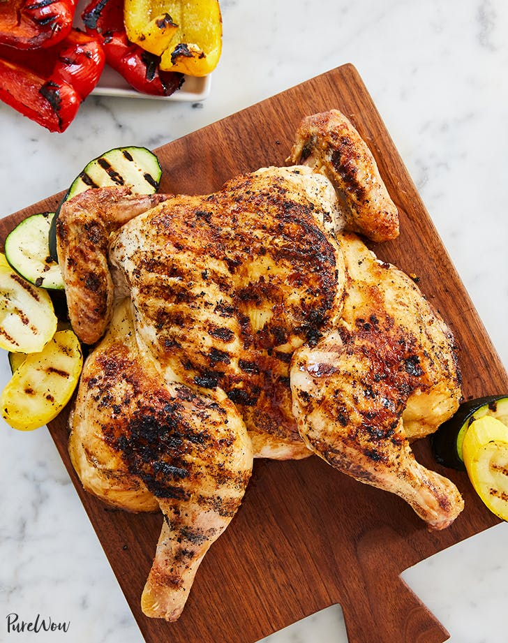 Cheater's Grilled Whole Chicken and Vegetables