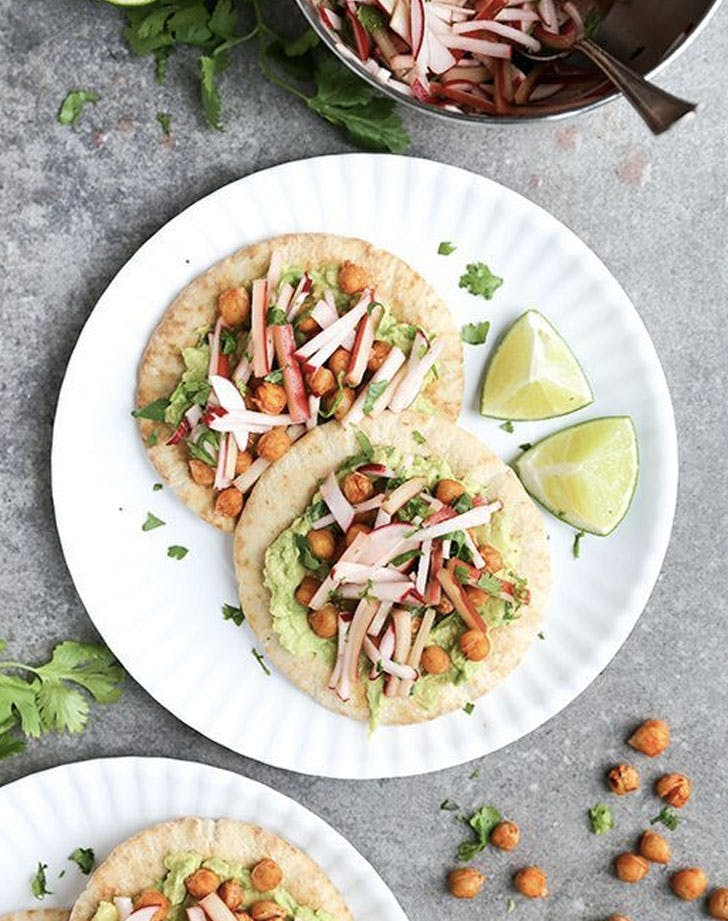 chickpea avocado tostadas with rhubarb radish slaw recipe