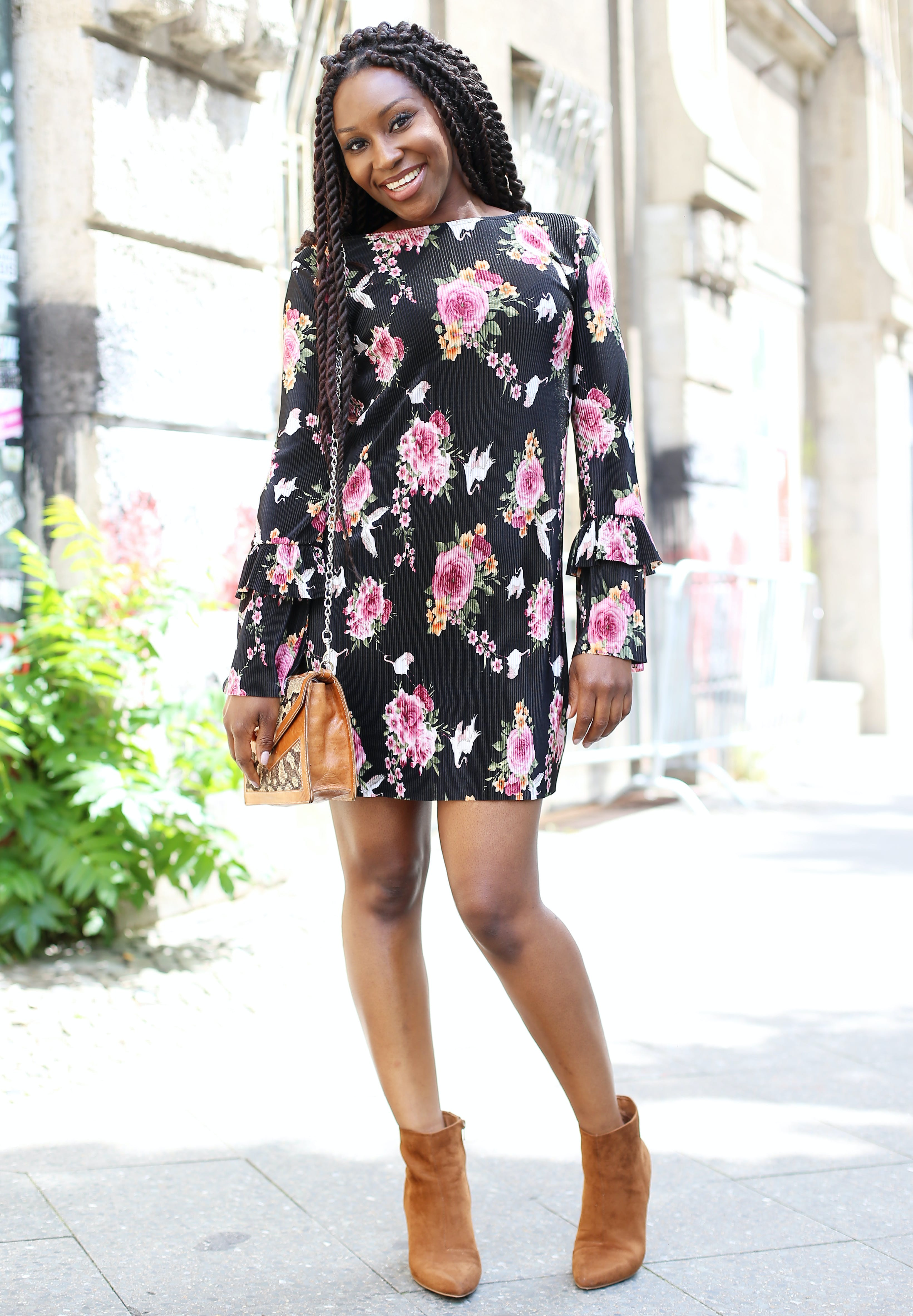 Light Brown Booties With A Fl Dress