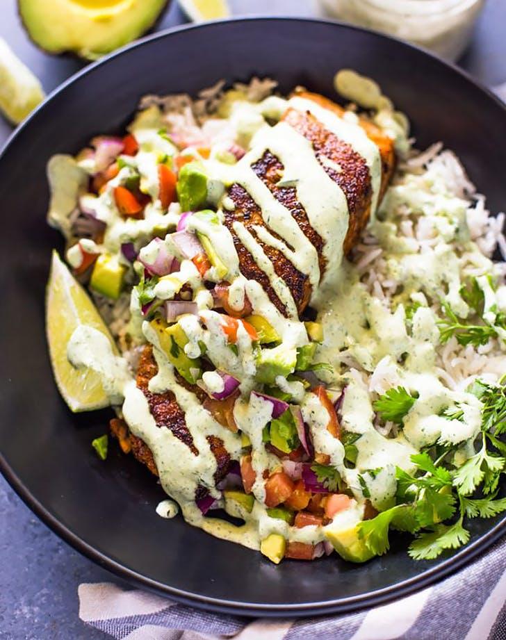 crispy salmon avocado salas bowls with cilantro sauce recipe