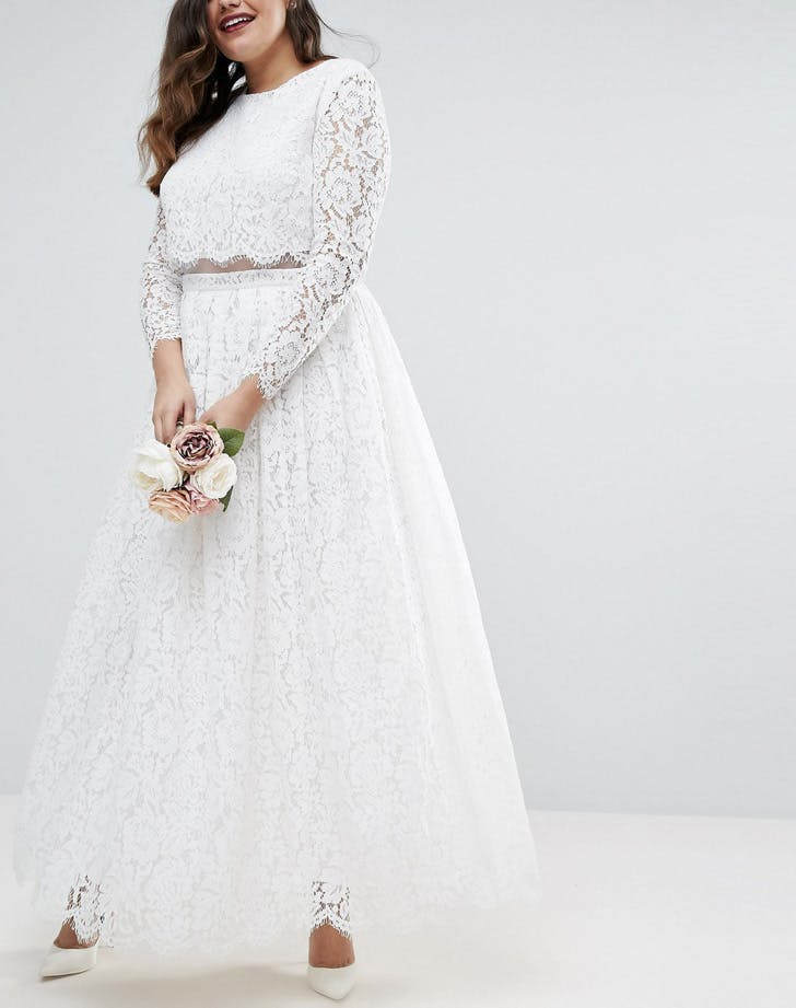 cropped lace skirt and top wedding gown