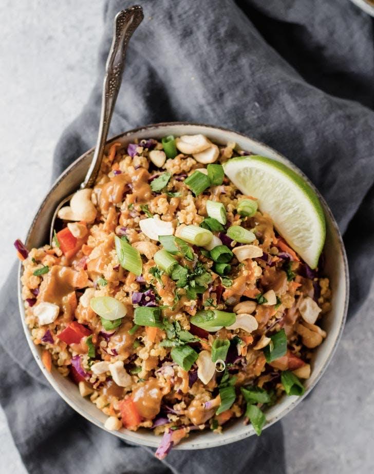 crunchy cashew thai quinoa salad recipe