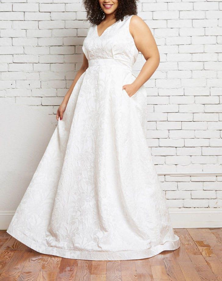 deep v pocketed wedding dress