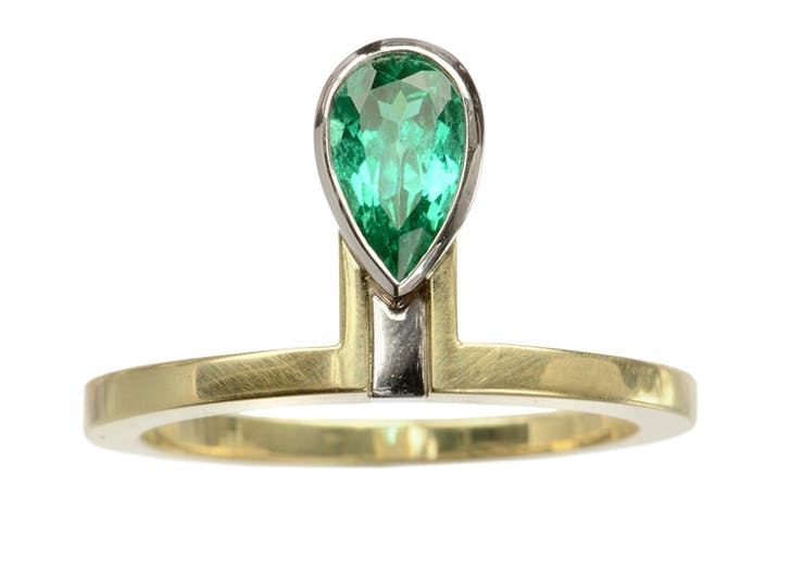 emerald healing crystal engagment ring