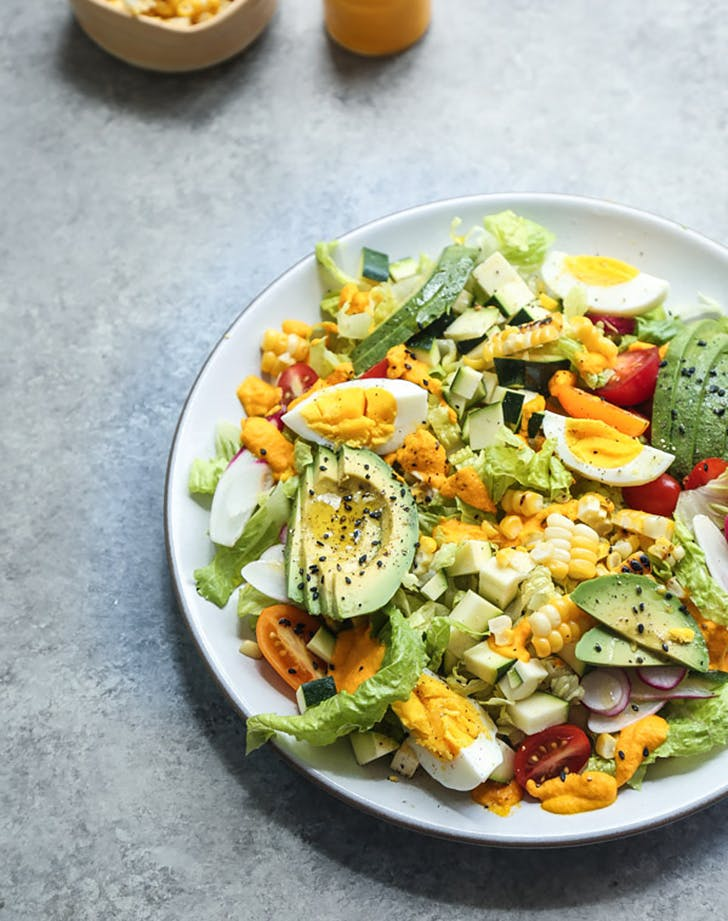 end of summer cobb salad with creamy carrot kimchi dressing recipe1
