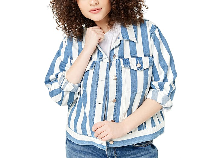 forever 21 plus size jean jacket with vertical stripes