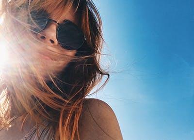 girl hair sunglasses sky 400
