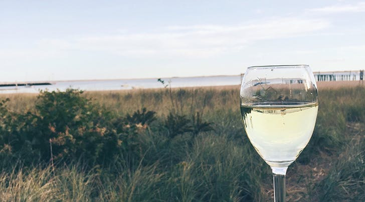 glass of white wine in front of beach dunes hero